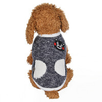 Simple Polyester Dog Coat Autumn Winter Thicken Warm Panda Pattern Knitting Jacket For Small And Medium
