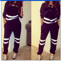 Free Shipping 2016 Autumn Winter Women Two pieces set Striped Print Tracksuit Female Warm Thicken Sweatshirt And Long Pant Set