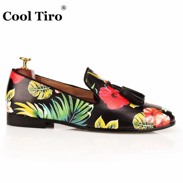 COOL TIRO Tassel Men Loafers Flowers Painted Printed Men's Moccasins SmokingSlipper Shoes Wedding Dress Shoes Flat Real Leather