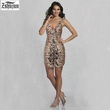 2018 Sexy Women dresses Deep V collar Tight Casual Sequins Mini dress Summer  ElegantA Nightclub Bodycon ea820bd32b1f