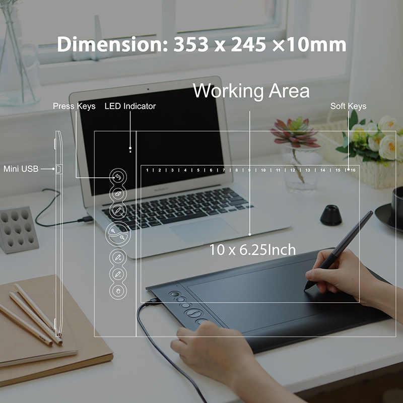 Huion H610 Pro V2 Terbaru Tablet Grafis Digital Profesional Menggambar Pena Tablet dengan Baterai Gratis Pen Tilt Fungsi 8192 tingkat