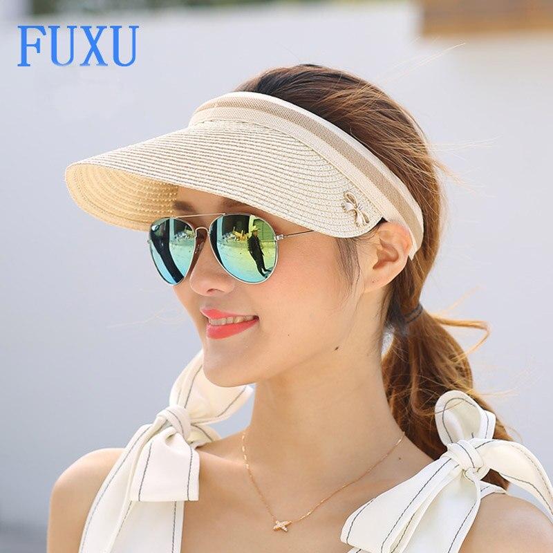 Frauen sommer strohhut visier sonneschattierung hut strandkappe Papyruses luftkappe Meer sandstrand baseball-kappen lässige mode