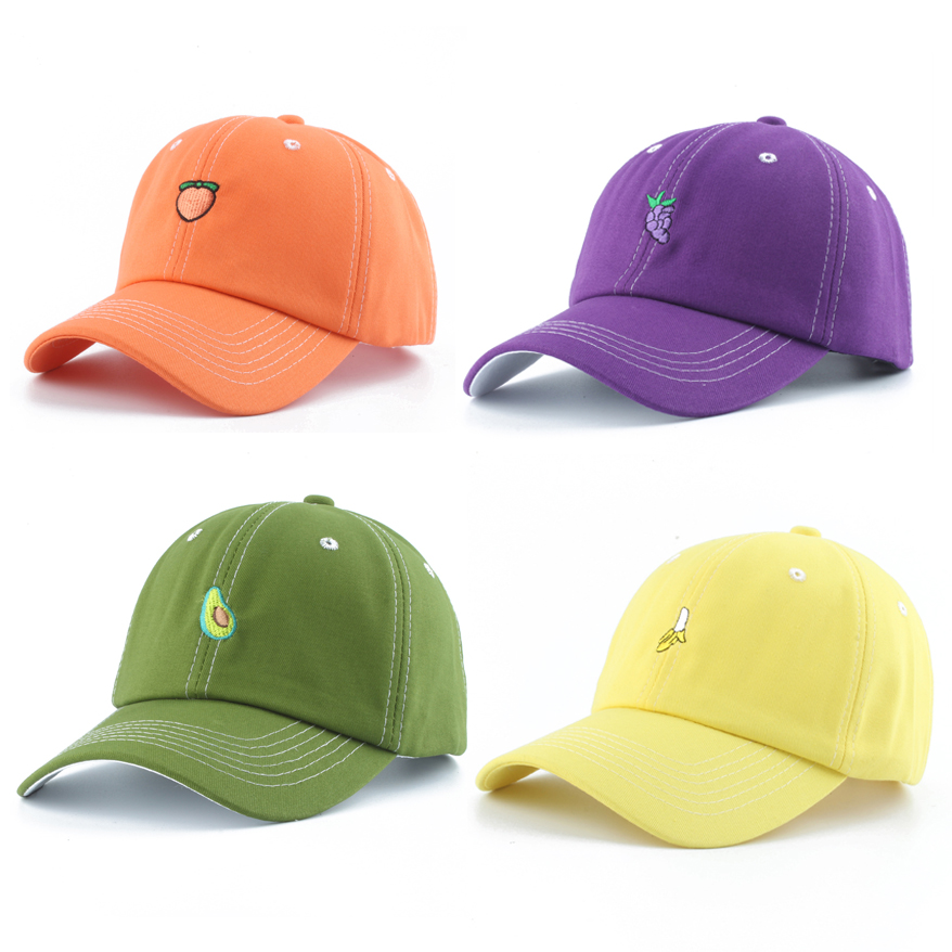 2019 New Fruit Embroidery Baseball Cap 100% Cotton Dad Hat Men Women Summer Adjustable Snapback Hip Hop Cap