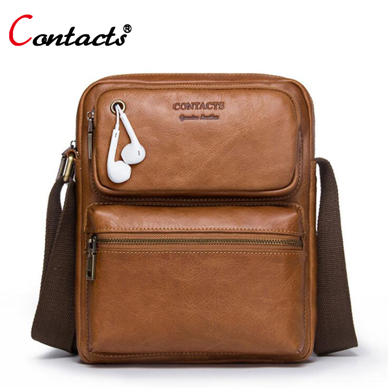 CONTACT'S Genuine Leather Bag Men Bag Male Handbag Men Messenger Bag Shoulder Crossbody Bag For Men Briefcase Business Small New qibolu handbag men bag briefcase business travel laptop messenger crossbody shoulder bag sacoche homme bolsa masculina mba17
