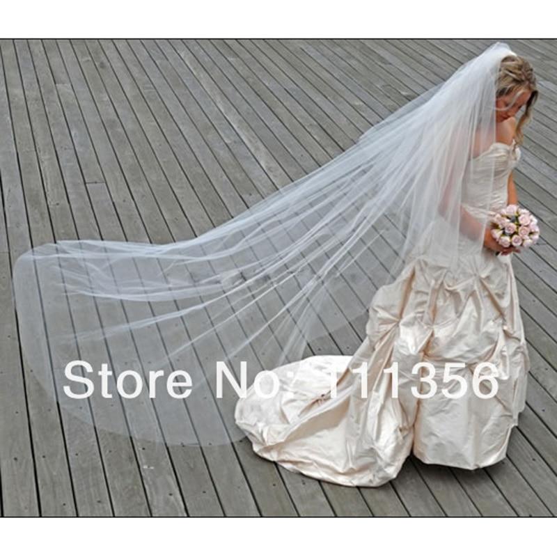 Marfil borde de corte largo vestido de novia velos Catedral longitud nupcial Velo con peine para La novia