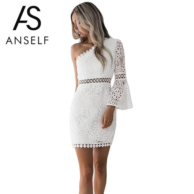 Anself 2019 New Sexy Hollow Out Dress Women Elegant White Lace Dress One Shoulder Flare Sleeve Clubwear Short Club Party Dress