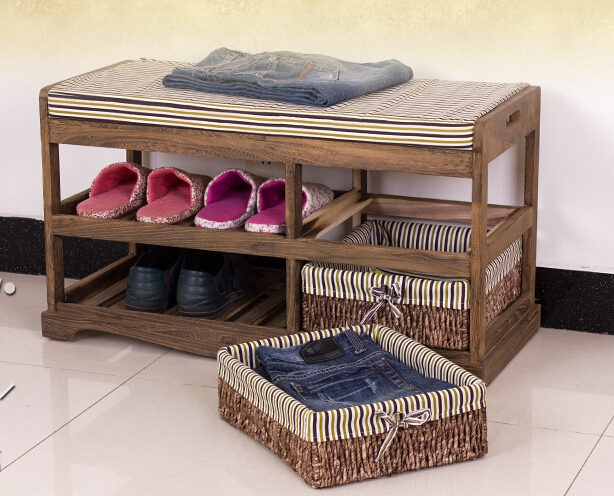 Wooden Shoe Rack With Two Storage Basket Paulownia Solid Wood Bench Living  Room Furniture Japanese Style Shoe Bench Shelf Rack In Shoe Cabinets From  ...