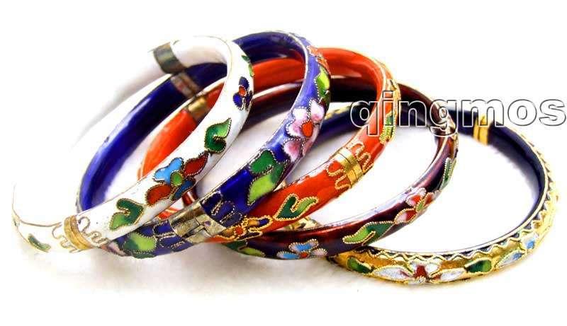 Wholesale 5X Multi-Colored Cloisonne enamel Bangle cuff Bracelet-who147 Wholesale/retail Free shipping