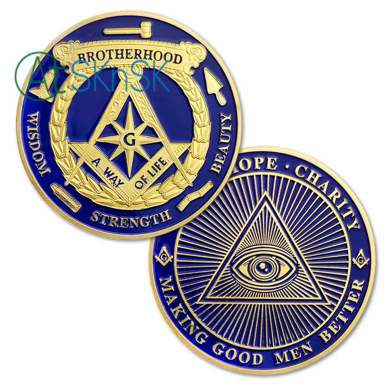 US $5 13 45% OFF|1/3/5/10pcs Brotherhood Freemasons Masonic Challenge Coin  Making Good Men Better Golden Design Mason Token Coins Collection-in