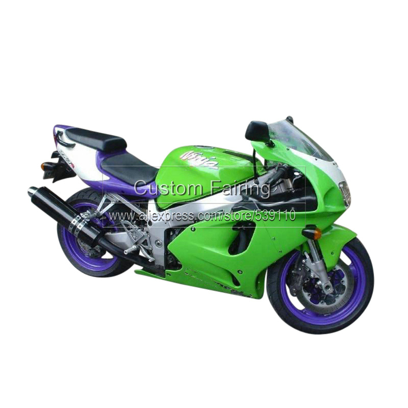Free custom Motorcycle fairings for Kawasaki ZX7R Ninja 1996 - 2003 green silver 2001 01 fairing kit 7 gifts xl21 custom designed repsol fairings for kawasaki ninja300 2013 with free shipping