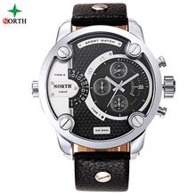 Hommes Militaire Montre À Quartz Sport Montres Hommes Marque De Luxe Bracelet En Cuir Horloge Hommes Étanche 30 M Oversize Dual Time Montre-Bracelet