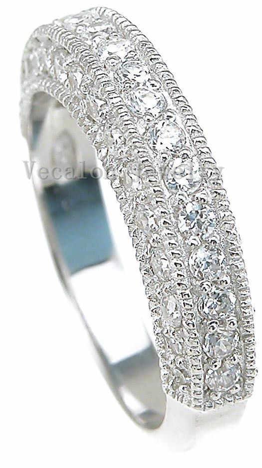 2ct aaaaa zircon cz 14kt branco ouro cheio anel de dedo feminino anel de casamento conjunto de anel de banda de casamento de noivado de moda vecalon para mulher
