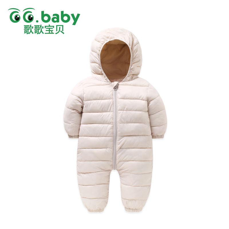 Down Cotton Baby Winter Overalls Kids Boy Hooded Baby Clothing Girl Newborn Romper Long Sleeve Jumpsuit Solid Zipper Outfits iyeal newborn winter clothes cotton padded baby clothing long sleeve hooded animal baby girl boy romper cartoon warm jumpsuit