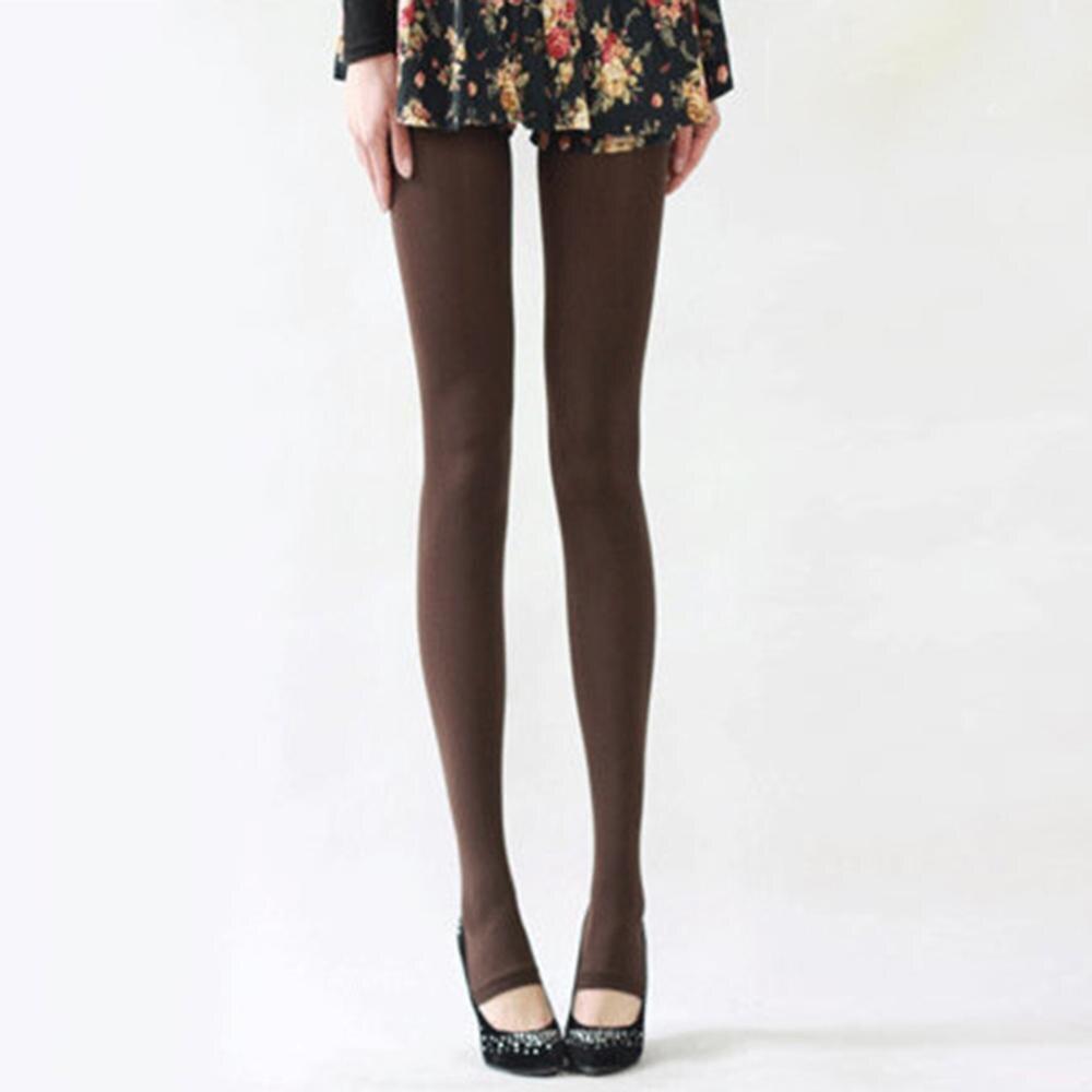 Шаг ноги женские теплые колготки 120D бархатные Collants весна осень Чулочные изделия Fantaisie сексуальные колготки эластичные Strumpfhose тонкие Medias - Цвет: Коричневый