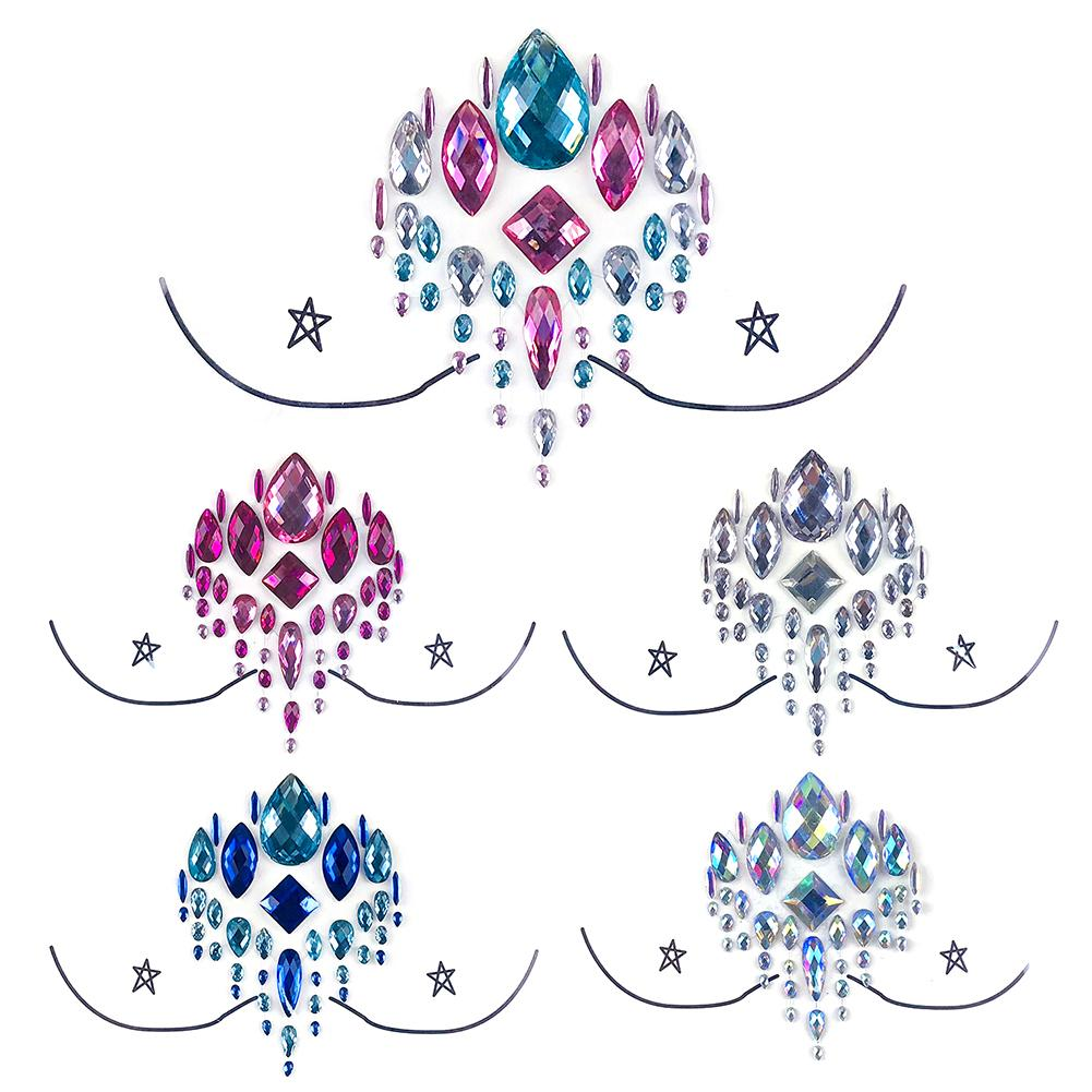 3D Glitter Chest Temporary Tattoo Sticker Party Festival Diamond Breast Face Nipple Jewel Gems Decoration Sticker Body Art Decal in Temporary Tattoos from Beauty Health