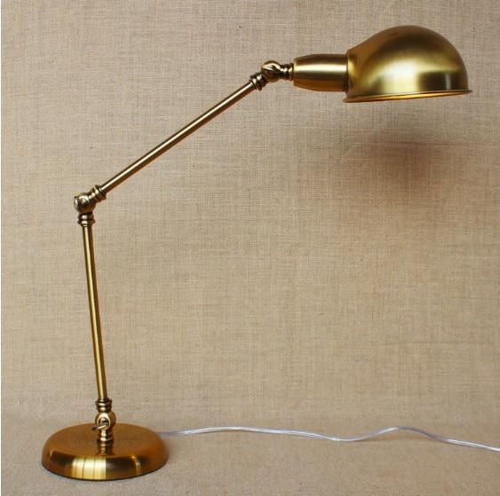 Golden Mordern LED Table Lamps For Bedroom RH Arm Table Lamp,Abajur Para Quarto Lampara De Mesa america water pipe table lamp in loft industrial style led table lamps for bedroom living room abajur lamparas de mesa
