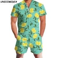 Men Rompers 3D Print Fruit Lemon Short Sleeve Jumpsuit Romper Playsuit Beach Overalls One Piece Slim Fit Clothing Men's Sets