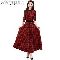 2018 Spring X Long Casual Women Dresses Plus Size Lattice Print Long Sleeve Dress Female Autumn