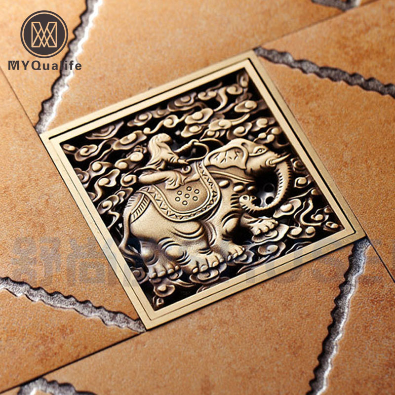 Free Shippin Brass Elephant Carved Floor Waste Strainer Art Carvedg Square 4 Antique Floor Drain Cover 10cm x 10cm free shipping europe style high quality brass art carved flower gold square 4 size deodorization floor drain waste drain