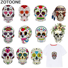 ZOTOONE Cool Punk Skull Patches Iron on Transfers for Clothes T-shirt Heat Transfer Sticker DIY Accessory Appliques F1