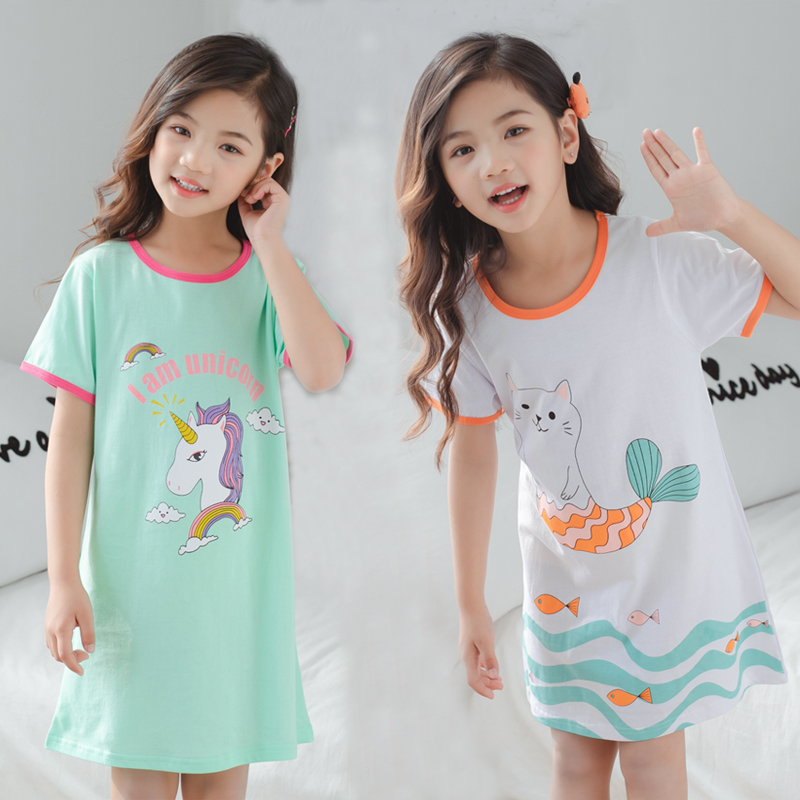 2019 New Summer Children's Cotton Nightdress Unicorn Nightgown Kids Girls Nightshirt Big Girl Cotton Pajamas Nightie Gecelik