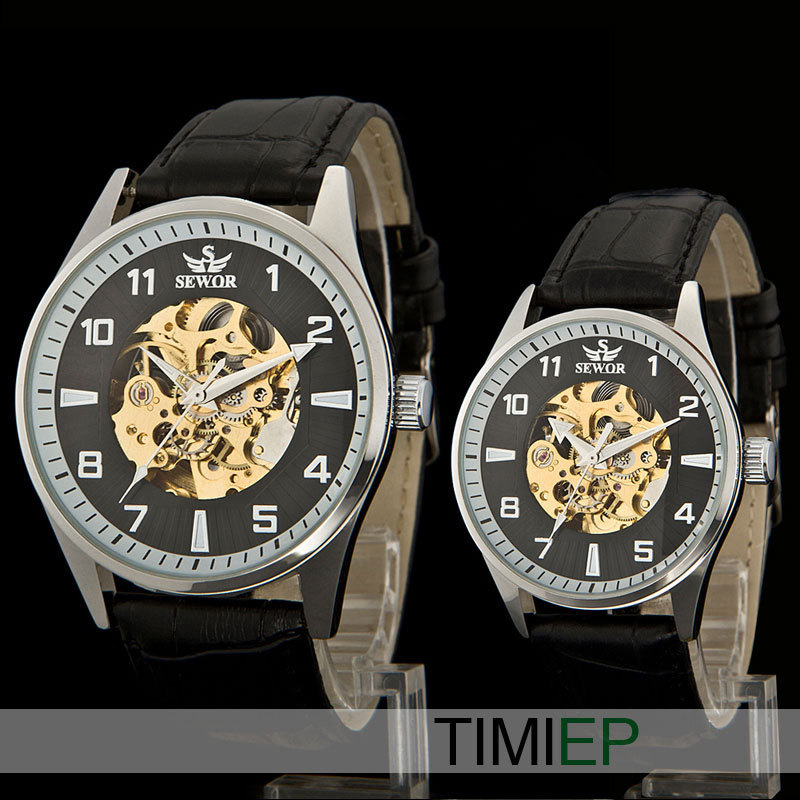 NEW Fashion Couples Watch Skeleton Transparent Auto Mechanical Leather Watch Band Lovers Wrist Watch*2 Men &Women