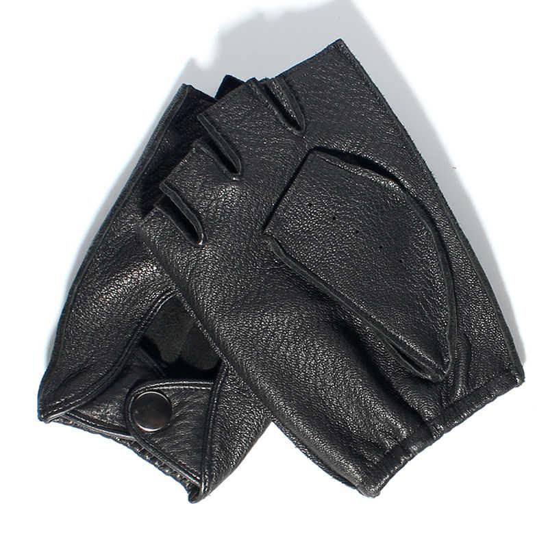 Gours 冬メンズ本革指なしグローブジムワークアウトフィット男性手袋 GSM046