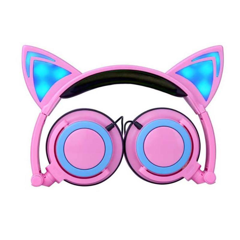 Children Head-Mounted Foldable Headphones Cartoon Cat Ears Illuminated LED Headset Phone Music Mp3 Player Multi-Color Optional