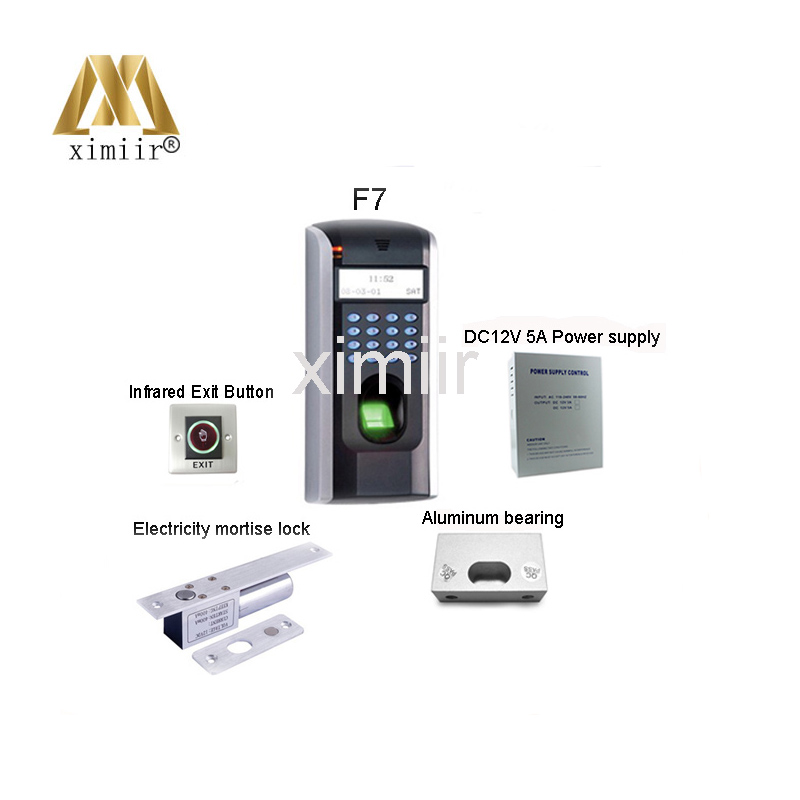 Hot selling F7 fingerprint access control system with power supply,infrared button,electric lock,bracket access control system