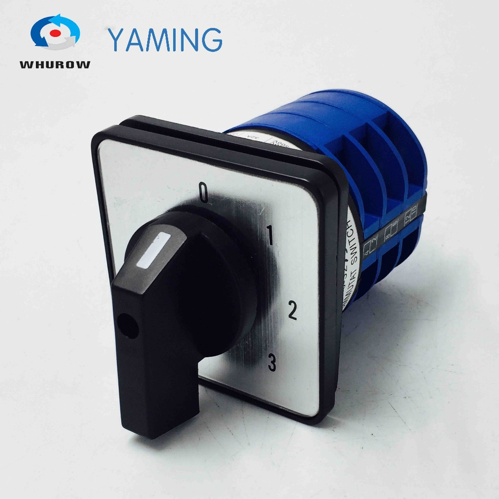 Yaming electric changeover switch 0-3 position 3 phases knob rotary cam switch dc motor interruptor YMW26-32/3