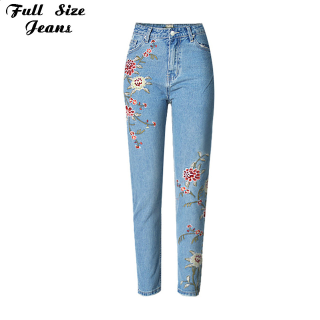 Plus Size Boyfriend Floral Embroidery Harem Jeans Women 2017 Vintage Casual Denim Capris Pants Woman Jeans 4XL 5XL 6XL