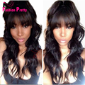 Best Long Lace Front Human Hair Wigs with Bangs Virgin Indian Body Wave Glueless Human Hair Front Lace Wig Wavy 130density