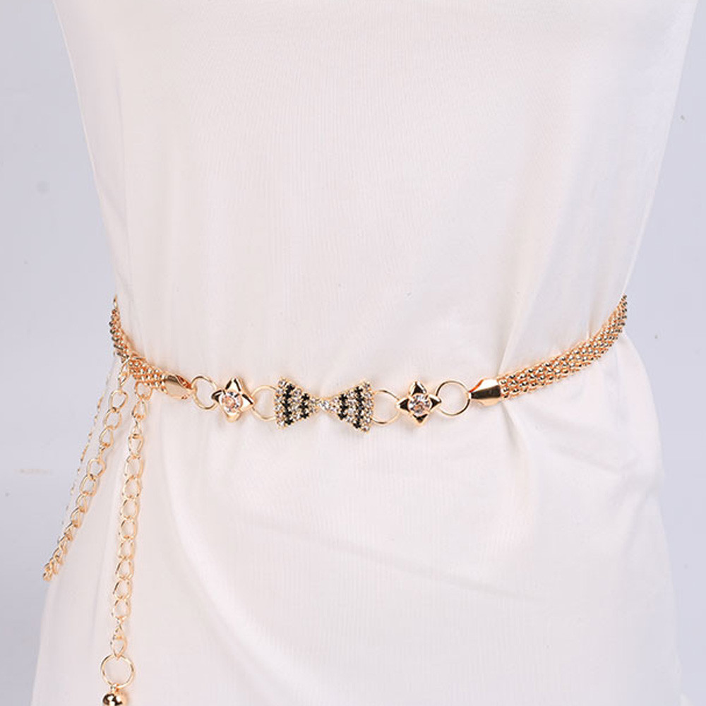 Gold Chain Belt For Women Lady Fashion Metal Chain Style Belt Female Dress Waistband Body Chain Cinturon Mujer Cintura Donna A9