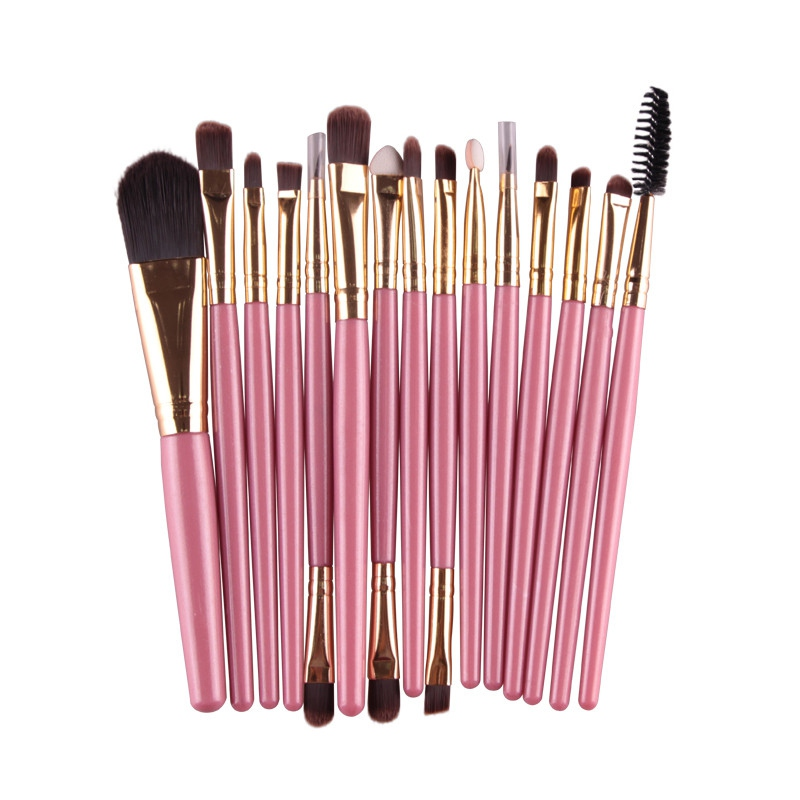 15 Pcs Professional Cosmetic Makeup Brush Women Foundation Eyeshadow Eyeliner Lip Brand Make Up Eye Brushes Set professional bullet style cosmetic make up foundation soft brush golden white