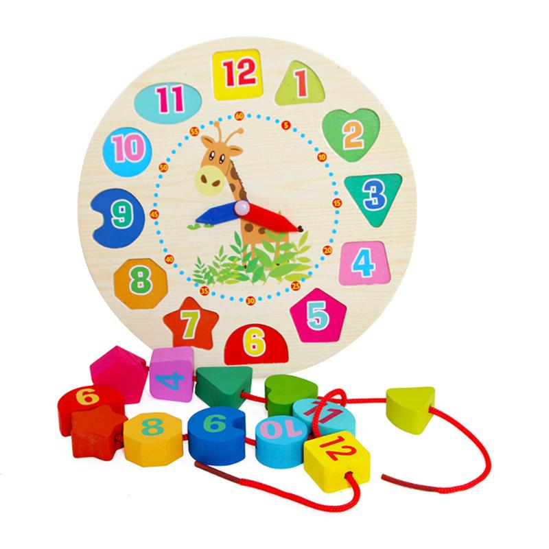 Montessori Wooden Puzzle Toy Cartoon Animal Alarm Clock Beads font b Baby b font Learning Cognitive