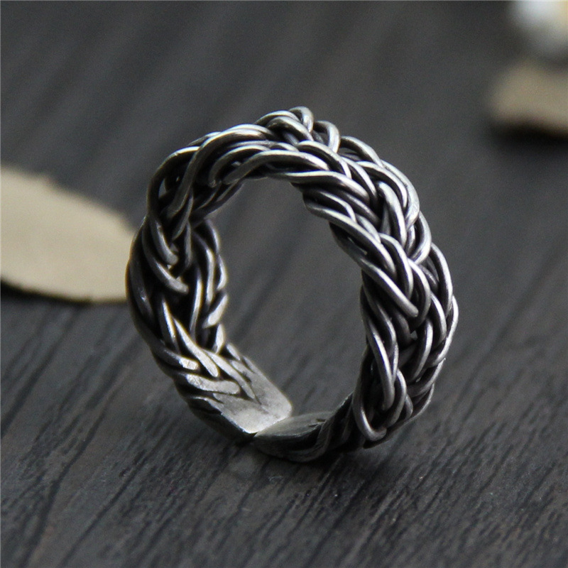 C&R Real S999 Sterling Silver Rings for Men Braided Thorns Black Thai Silver Rings Opening Handmade Vintage Rings Fine Jewelry hcw553 2 4ghz wireless 4 ch r c aircraft toy silver black orange