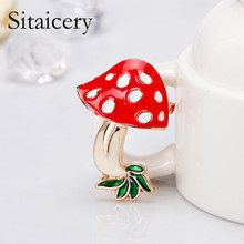 Sitaicery Women Red Mushroom Metal Enamel Brooches Baby Hat Gifts Brooch Pins Lapel Pin Up Jewelry For Children Lovely Kids
