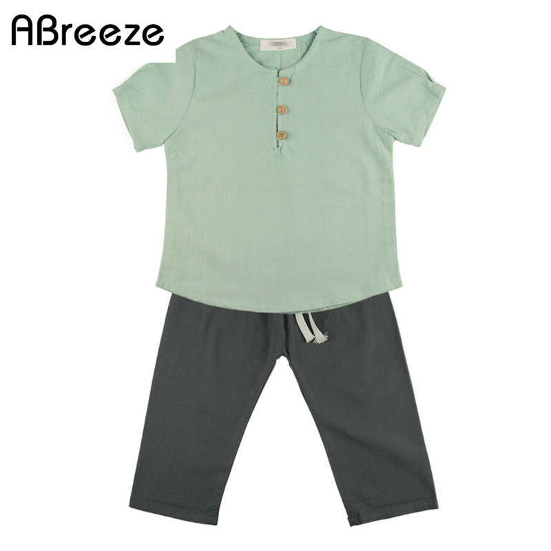 Sales children clothing set Casual Japan style linen cotton Tee shirt tops mid pants 2 pieces sets for boys girls summer clothes