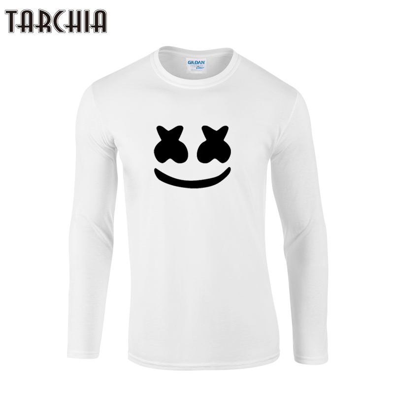 TARCHIA 2019 new boy men Long Sleeve male   t     shirt   marshmello face tshirt Men's   T  -  Shirt   100% Cotton Plus Size Homme smile face