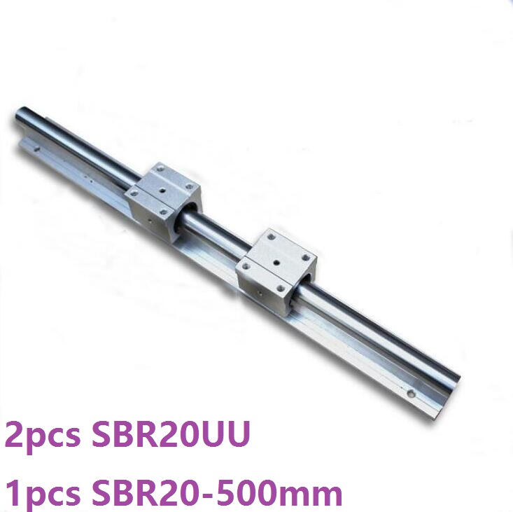 1pcs SBR20 - 500mm linear rail guide support + 2pcs SBR20UU linear bearing blocks for cnc router parts
