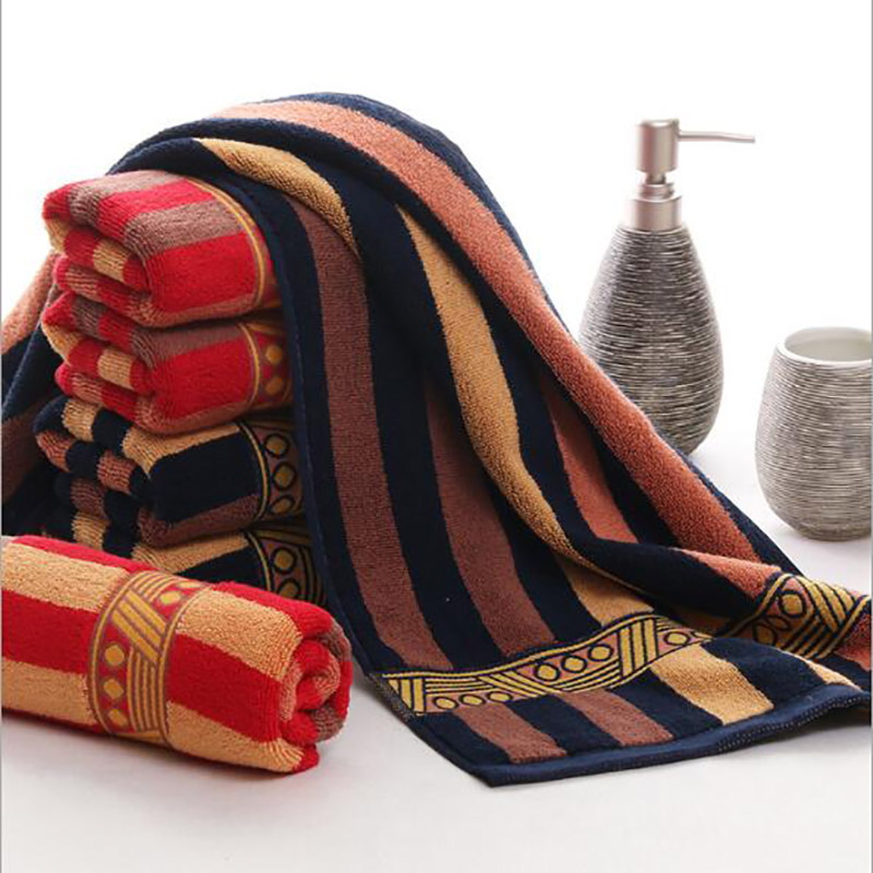 35X75cm100% cotton towels gold ribbon jacquard stall red and black stripes gift creative couple towel bath towel super soft