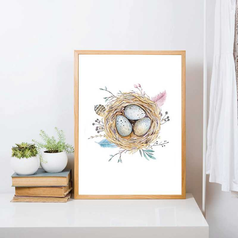 Magical Cute Bird Nest Print Watercolour Natural Feather Canvas Painting Baby Nursery Art Wall Decor