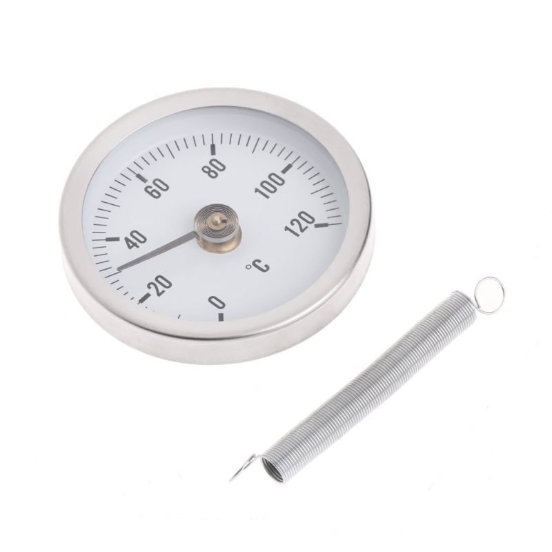 Pipe Clip-On Dial Thermometer Temperature Bimetal Temp Gauge & Spring 63mm 120 Degree L15 remote bimetal thermometer with capillary dial 3