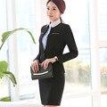 2 Peças Mulheres estilo uniforme de escritório designs Lady mini saia ternos conjuntos de roupas de trabalho formais Calças terno de negócio Blazer feminino