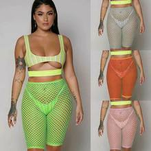 Sexy Women Crochet Fish Net Beach Shorts Mesh Sheer Trousers Bikini Cover Ups Sexy Ladies Hollow Crochet Slim Beach Trouser(China)