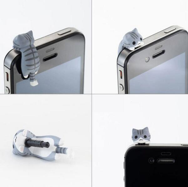 imágenes para Accesorios del teléfono celular de kawaii gato queso 3.5mm jack enchufes del auricular del enchufe anti del polvo para samsung galaxy s6 s5 accesorio a prueba de polvo