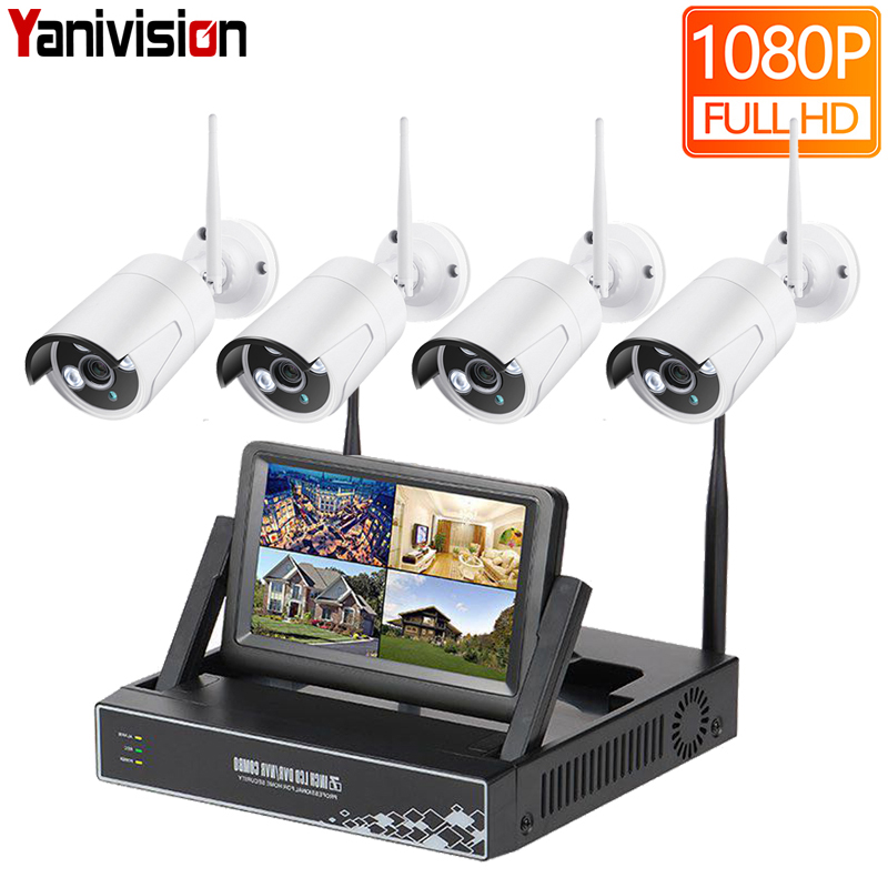 7 Inch Displayer 4CH 1080P Wireless CCTV System Wireless NVR IP Camera IR-CUT Bullet Home Security System CCTV Kit Yanivision