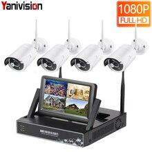 Yanivision Sistema inalámbrico de seguridad para el hogar, Displayer de 7 pulgadas, 4 canales, 1080P, CCTV, cámara IP NVR inalámbrica, IR CUT, Bullet, Kit CCTV