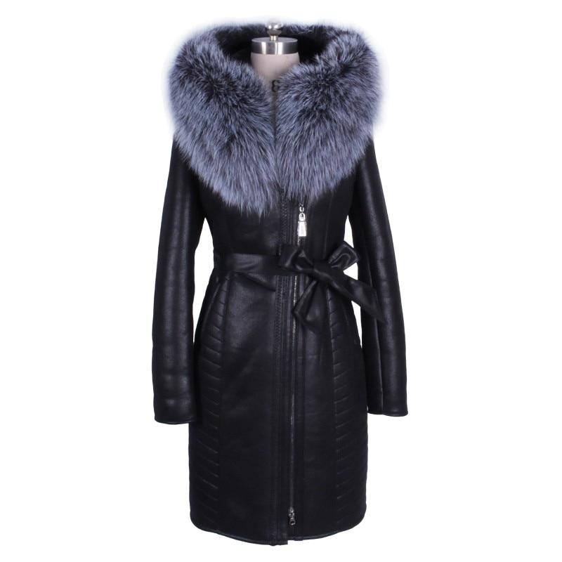 Модные зимние женские Натуральный мех Куртка с воротником с длинным рукавом на молнии женские пальто Chaquetas de Cuero Mujer мотоциклетные байкерски...