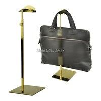 High Quality Adjustable Titanium Polished Metal Handbag Stand Display Women Bag Handbag Display Rack Holder AL8021